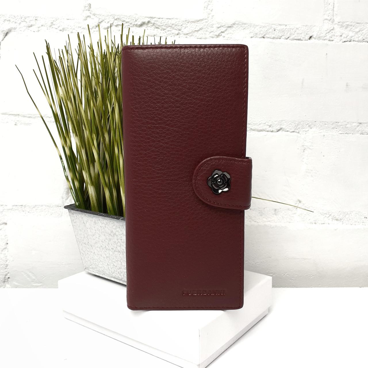 Жіночий гаманець на кнопці натуральна шкіра бордовий Арт.88006 bordeax red Fuerdanni (Китай)