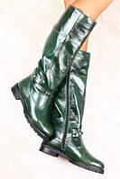 Женские кожаные сапоги цвета изумруд европейка