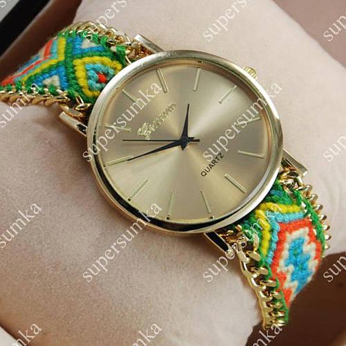 Необычные наручные часы Geneva Quartz Green/Gold 1024