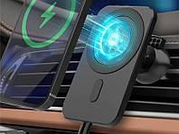 Автодержатель + беспроводная Зарядка магнитная OVAL (MagSafe) Magnetic Black