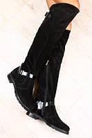 Высокие сапоги замшевые с кожаными пряжками