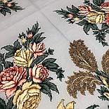 Пленительный июль 1730-1, павлопосадский платок шерстяной  с шелковой бахромой, фото 3