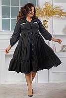 Женское черное батальное платье-рубашка с пышной юбкой