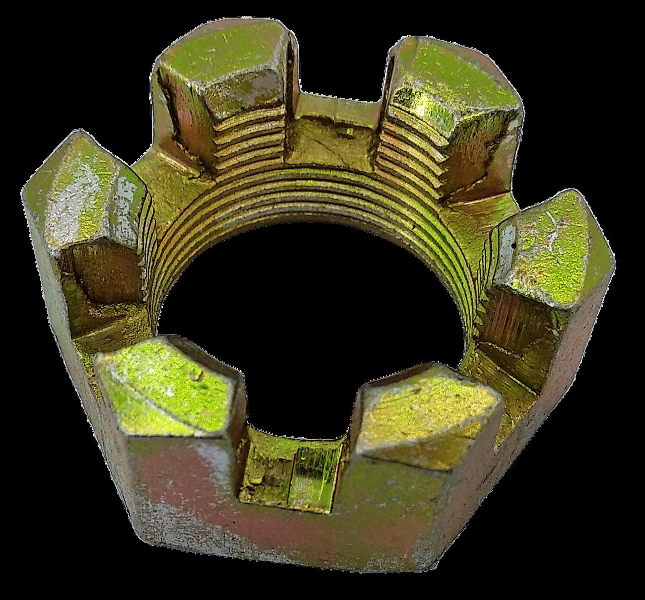 Гайка МТЗ-82 М18х1.5 корончатая оцинкованная 70-3003032. Гайка МТЗ-82 М18х1.5 корончата оцинкована