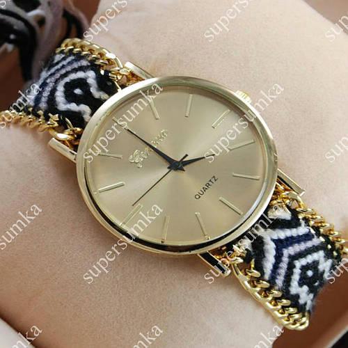 Модные наручные часы Geneva Quartz Black/Gold 1027