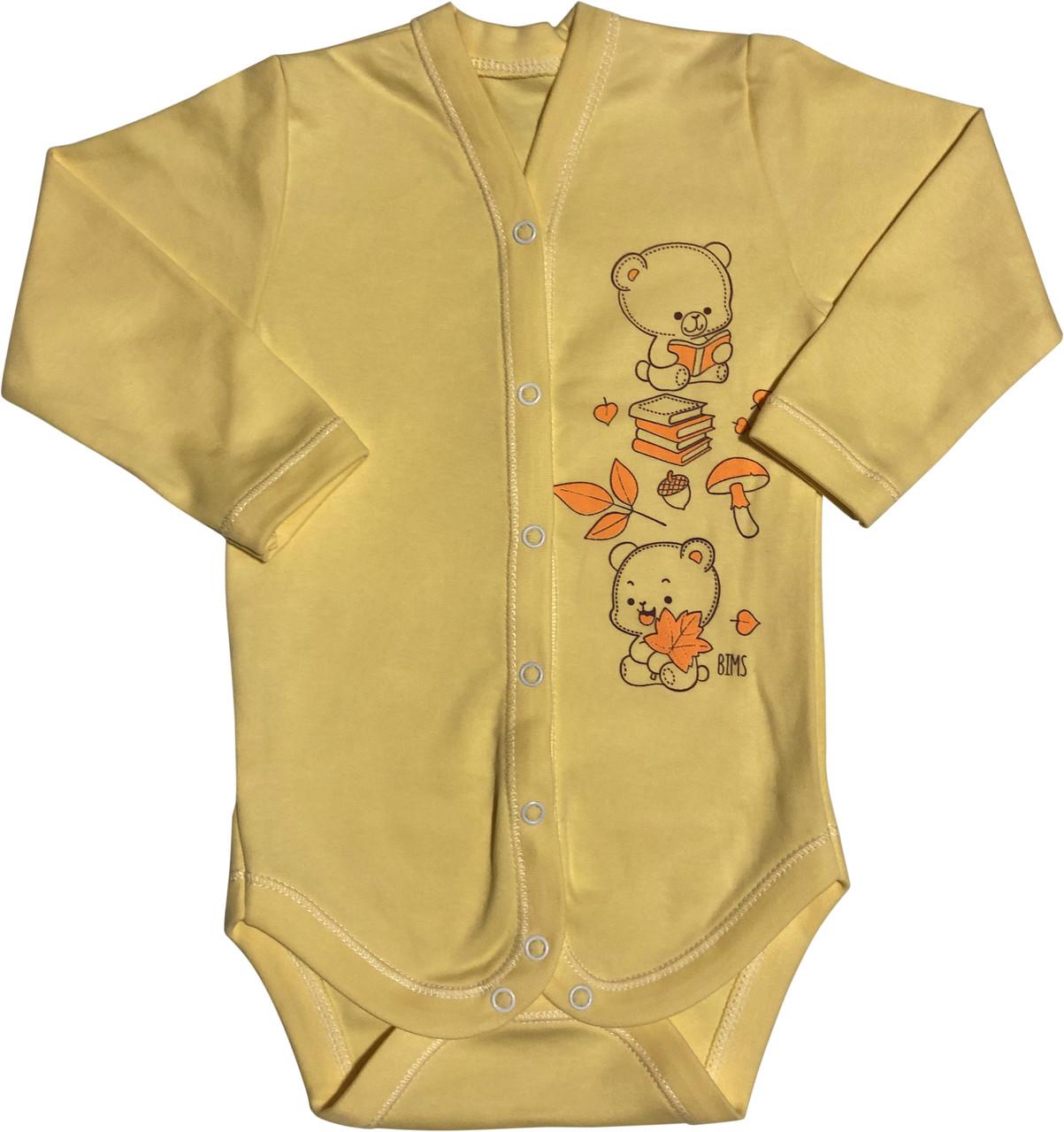 Дитячий боді зростання 74 (6-9 міс.) інтерлок жовтий на хлопчика/дівчинку з довгим рукавом для новонароджених