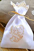 Мешочек для волосиков льняной золото №4