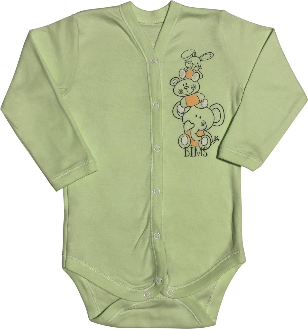 Дитячий боді зростання 86 1-1,5 року трикотажне інтерлок салатова на хлопчика дівчинку футболка з довгим