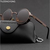 Черные круглые очки стимпанк с чехлом