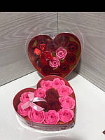 Подарочный набор сердце + 13 роз из мыльного раствора