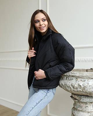 Женская черная курточка на холодную весну, очень стильная женская курточка