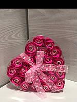 Подарочный набор сердце+ 24 розы из мыльного раствора