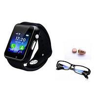 Микронаушник с GSM часами с невидимым экраном и bluetooth + очки для часов TMD-750, фото 1