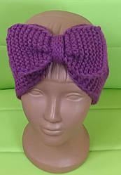 Повязка на голову вязанная для девочки, фиолетовый