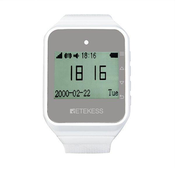 Часы пейджер для официантов с русским меню Retekess TD108, белые