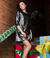 Платье трапеция кожа/трикотаж, черное на молнии.