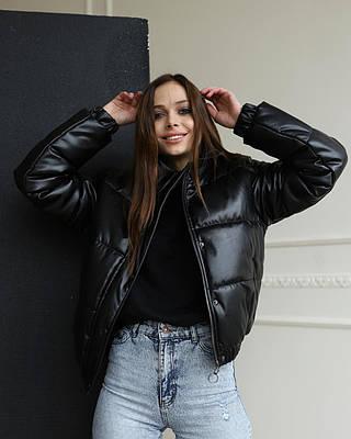 Женская черная курточка на холодную весну, очень стильная женская курточка, кожзам премиум качества