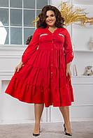Женское красное батальное платье-рубашка с пышной юбкой