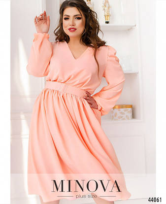 Платье женское Большой размер №818-персик| 48-50|52-54|56-58, фото 2