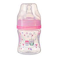 Бутылка антиколиковая с широким отверстием розовая BabyOno 120 мл (5901435411018)