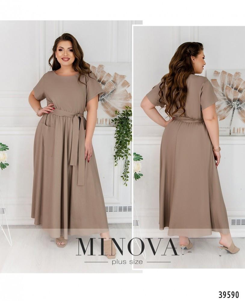 Платье женское батал №4164-1-какао| 52-54|64-66