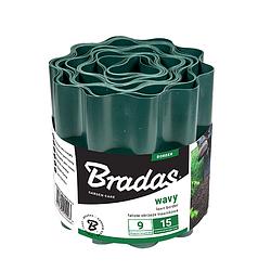 Садовый бордюр пластиковый волнистый, 9м*25см, зеленый, OBFG 0925