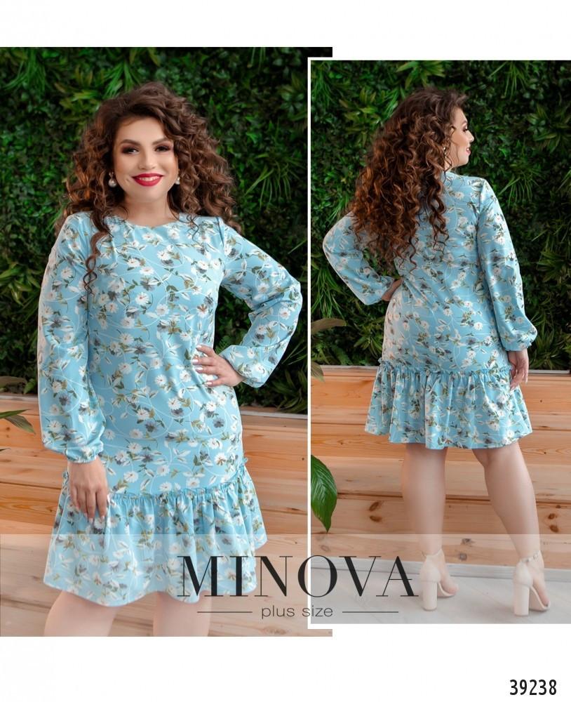 Платье женское батал №18072-1-блакитний| 48|50|52|54