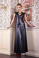 Женское длинное кожаное платье в пол с коротким рукавом