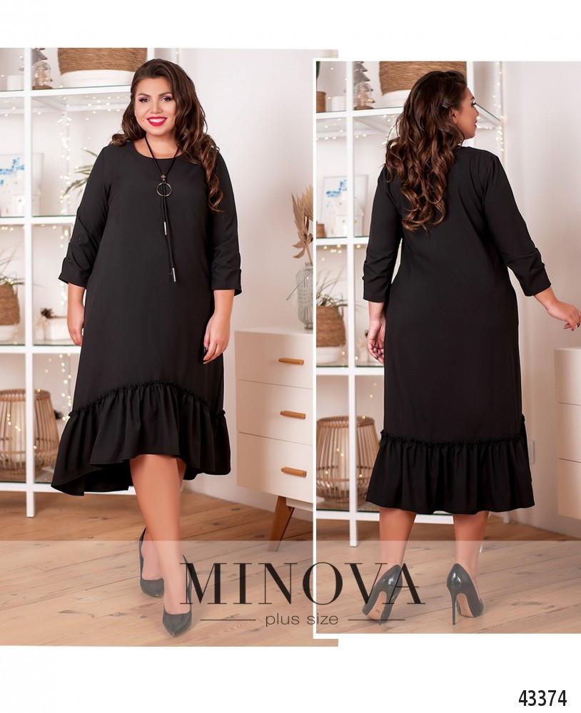 Платье женское батал №20-25-чорний  50-52 52-54