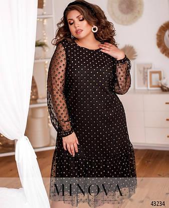 Платье женское батал №2102Б-золото  46-48 50-52 58-60, фото 2
