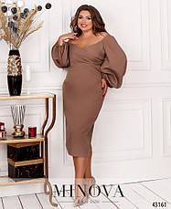 Платье женское батал №7047-1-какао| 50-52, фото 2