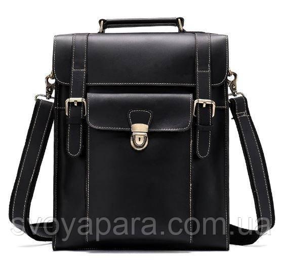 Ділова сумка-трансформер чоловіча Vintage 14797 Чорна гладкій шкірі