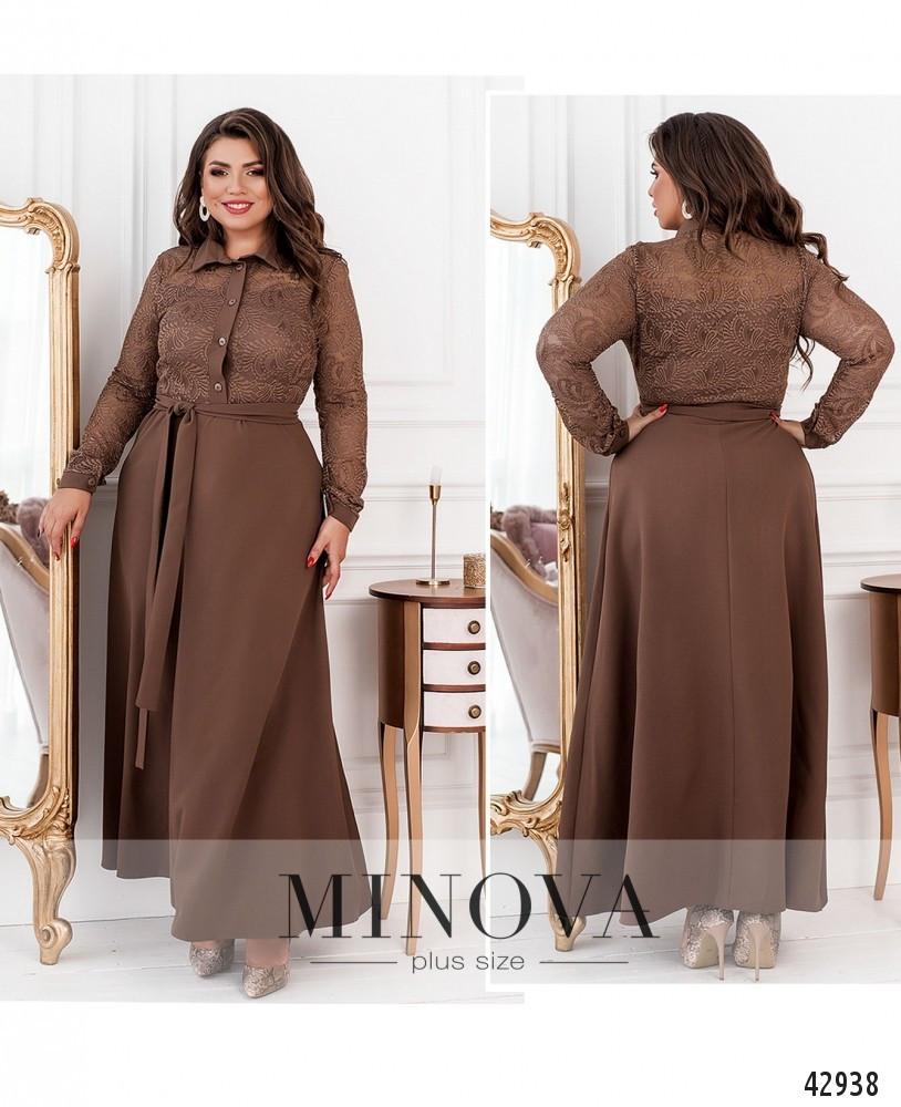 Платье женское батал №8628-моко  50 52 54 56 58 60 62 64