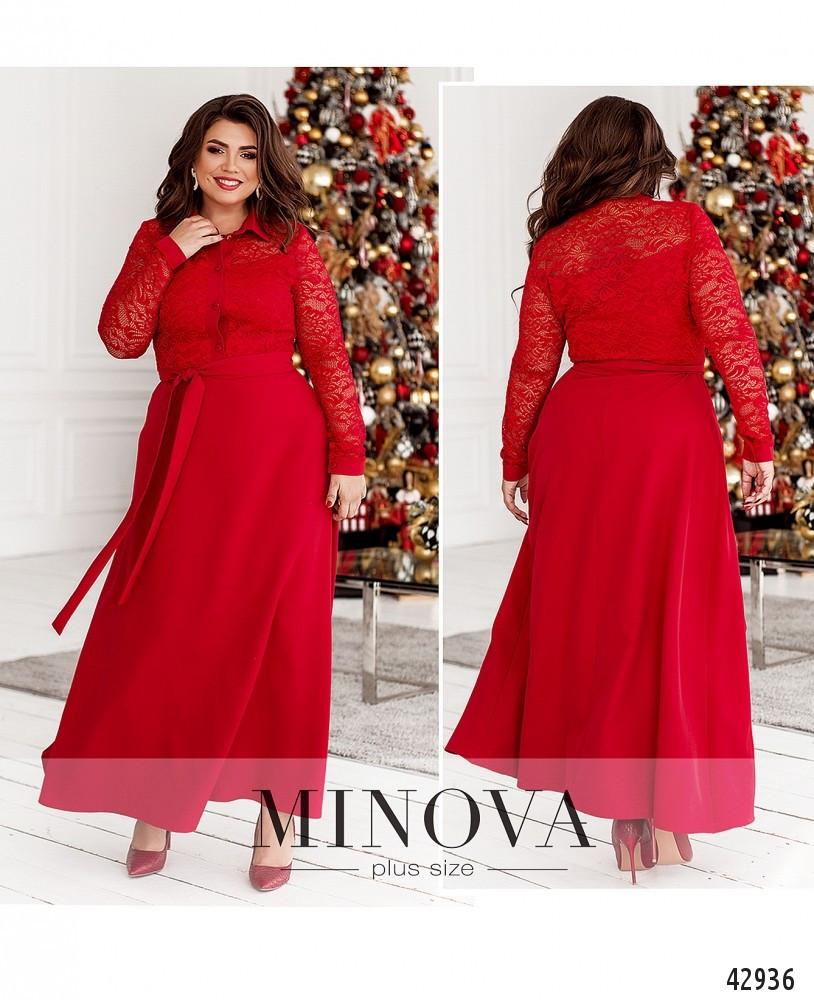 Платье женское батал №8628-червоний| 50|52|54|56|58|60|62|64