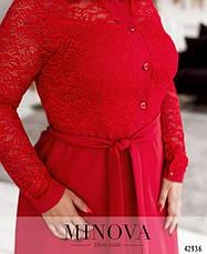 Платье женское батал №8628-червоний| 50|52|54|56|58|60|62|64, фото 3