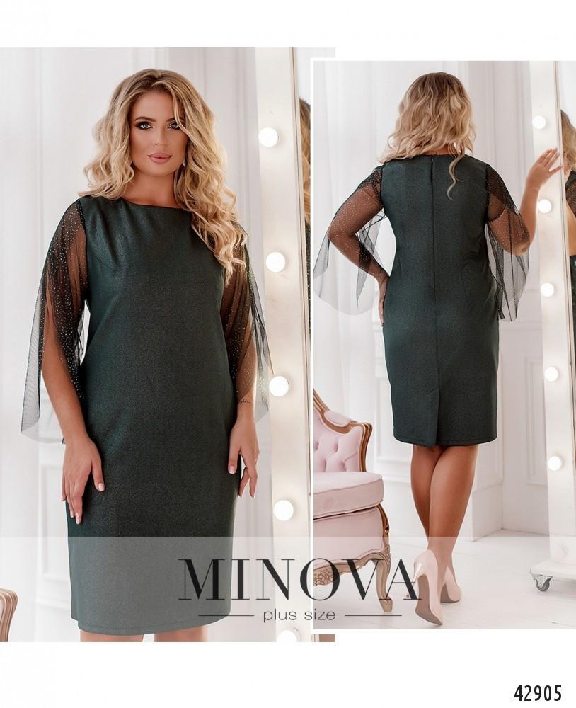 Платье женское батал №2084-темно-зелений| 46-48|50-52|54-56|58-60|62-64