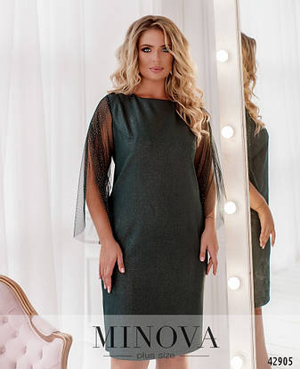 Платье женское батал №2084-темно-зелений| 46-48|50-52|54-56|58-60|62-64, фото 2