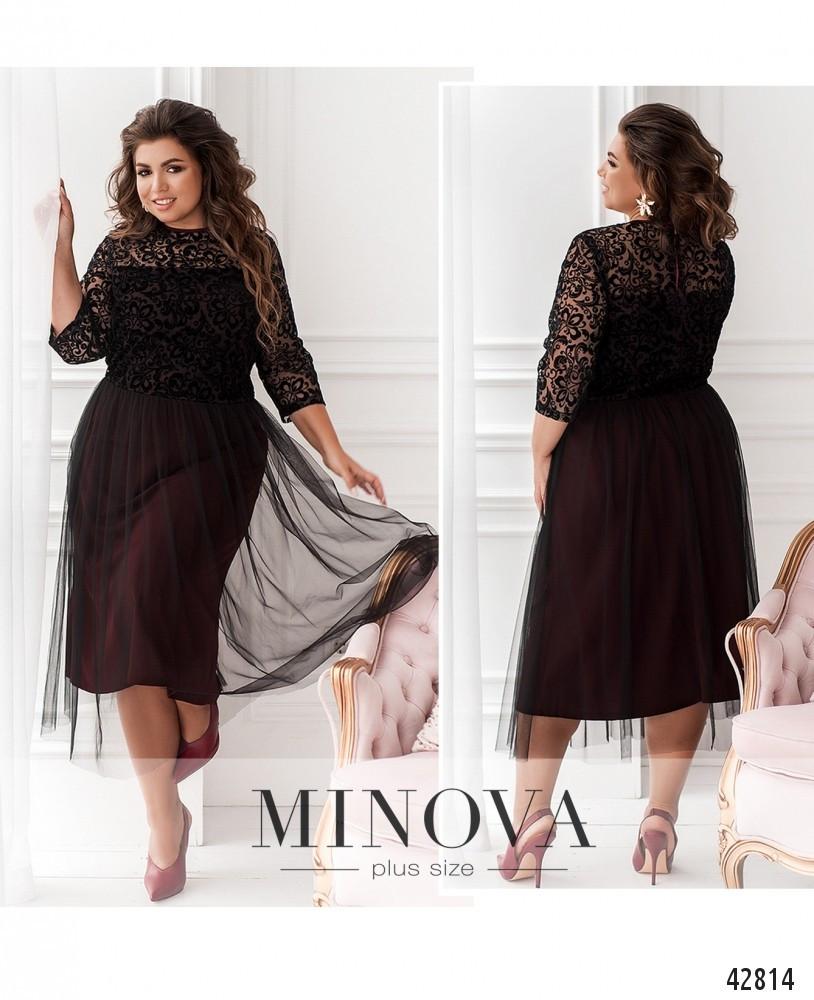 Платье женское батал №799Б-марсала| 56-58