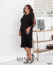 Платье женское батал №5346-чорний  50 52 54 56 58 60, фото 2