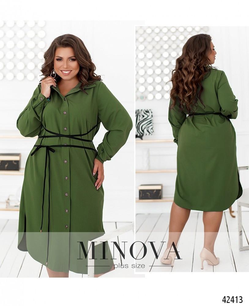 Платье женское батал №2077Б-зелений| 54-56