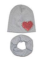 Шапка и шарф-снуд для девочки с сердечком серый