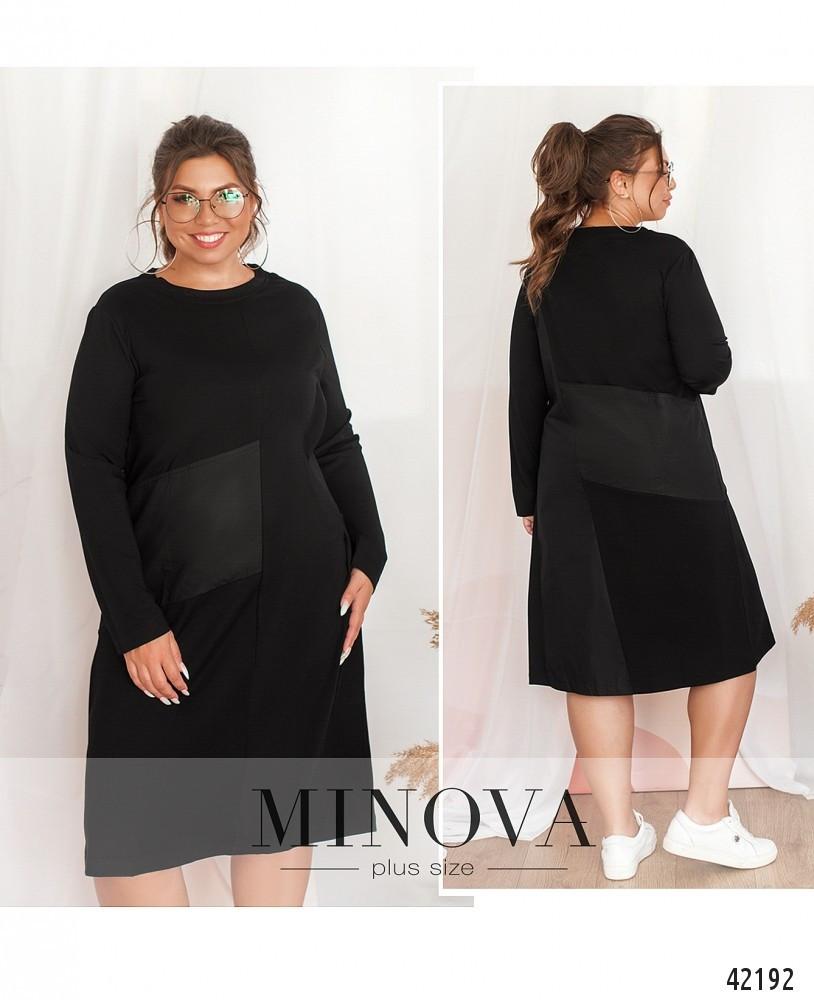 Платье женское батал №9146Б-чорний| Універсальний(48-54)