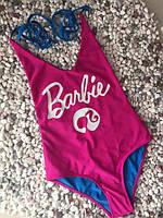 """Стильный молодежный слитный купальник с открытой спиной """"Barbie"""", М, Л ХЛ, малиновый, красивые купальники"""