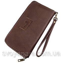 Мужской горизонтальный кожаный клатч SHVIGEL 19121 Коричневый