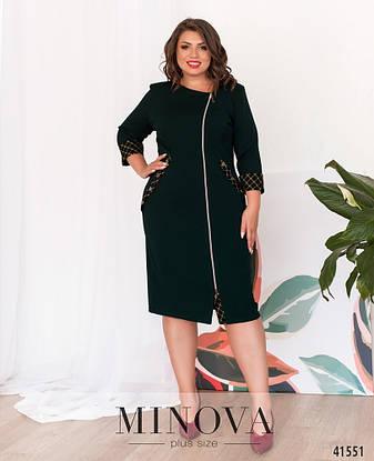 Платье женское батал №17-230-зелений| 52|54|56|58|60, фото 2