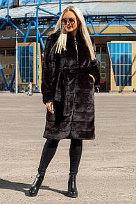 """Шикарна жіноча шуба великих розмірів під шиншилу """"Альба"""" - 52, 54, 56, пудра, сірий, чорний"""