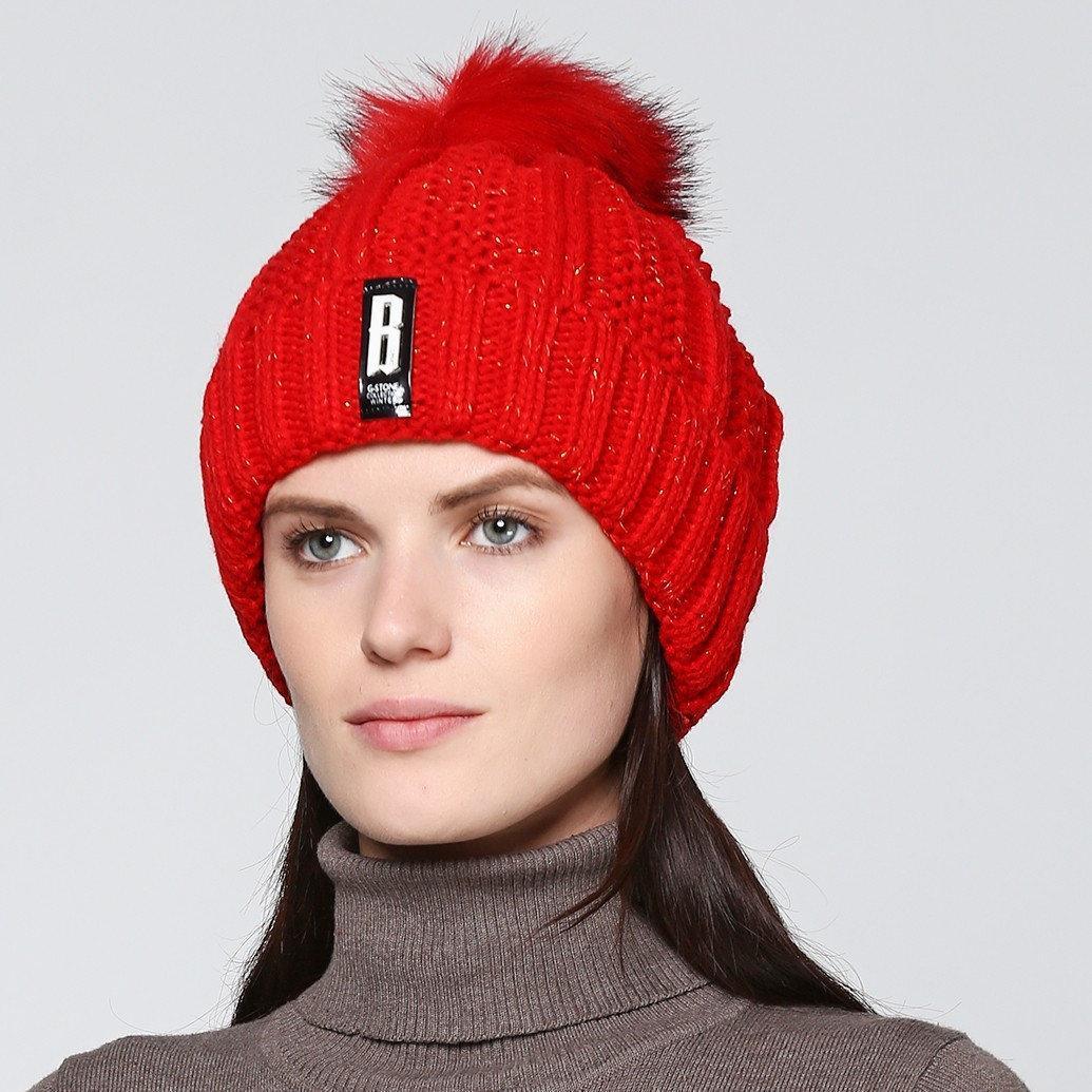 """Женская теплая зимняя шапка с меховым помпоном """"Eva"""""""