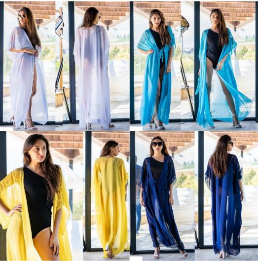 """Однотонная женская пляжная туника больших размеров """"Розабэль"""" р-ры 42-54 и 56-64 белый, желтый, синий, голубой"""