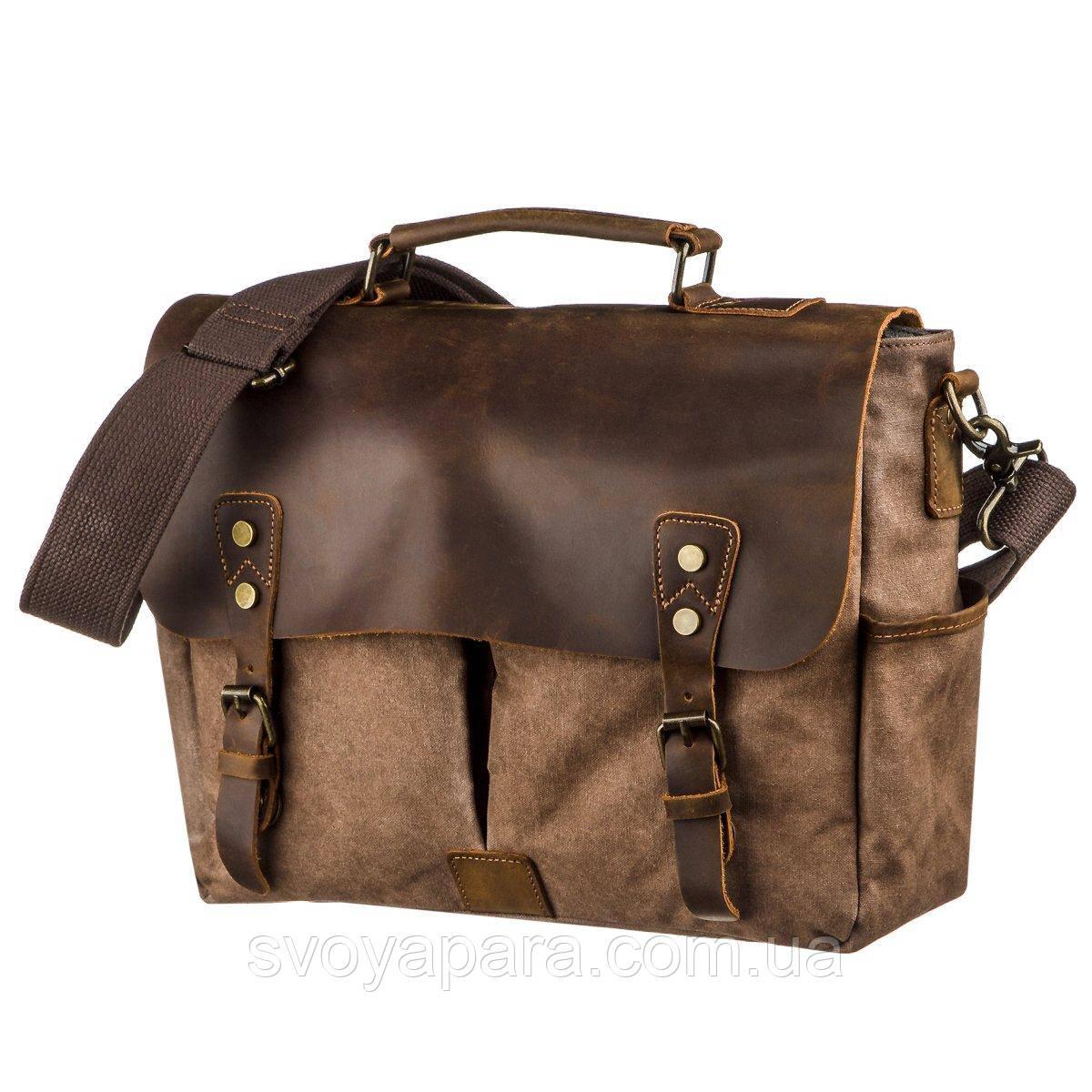 Солідний портфель на плече Vintage 20119 Коричневий