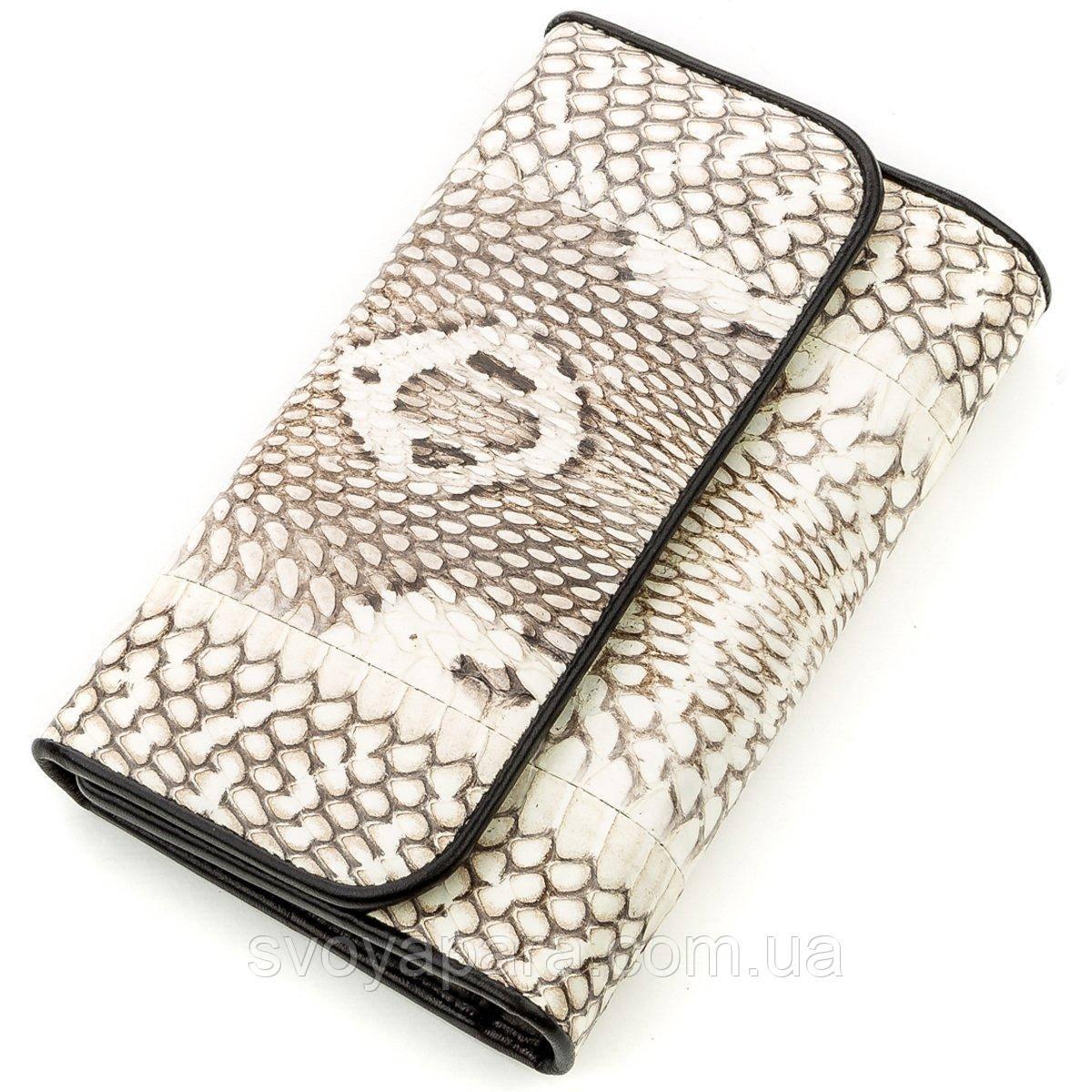 Вертикальний гаманець SNAKE LEATHER 18545 з натуральної шкіри пітона Сірий